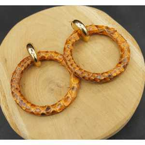 Creoles with light brown ring of Snakeskin