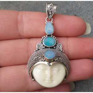 Silber Anhänger mit Gesicht set mit drei Dublett Opale