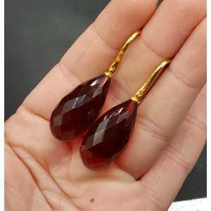 Goud vergulde oorbellen met grote Granaat quartz druppel