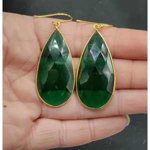 Goud vergulde oorbellen met grote smalle Emerald quartz