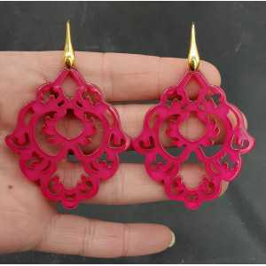 Gold plated earrings with fuchsia pink resin pendant