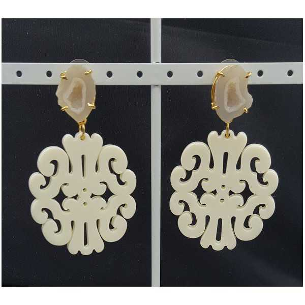 Gold plated earrings with ivory white resin pendant and Agate geode