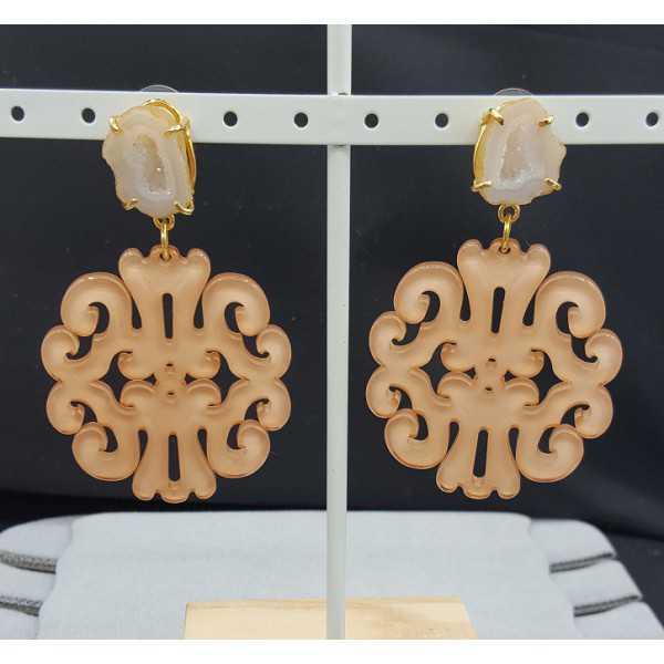 Vergoldete Ohrringe mit Lachs farbigen Harz-Anhänger-Achat-geode