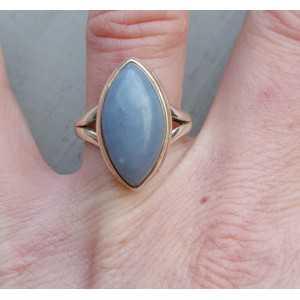Zilveren ring gezet met marquise blauw Opaal 18 mm