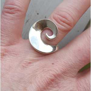 Silver ring wave 17.5 mm