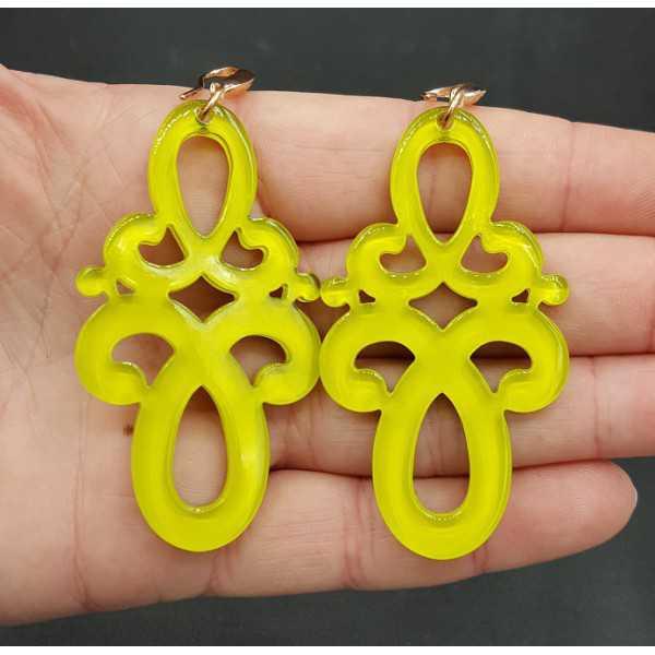 Earrings with resin pendant