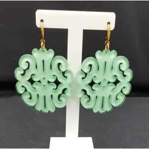 Earrings with mint green resin pendant