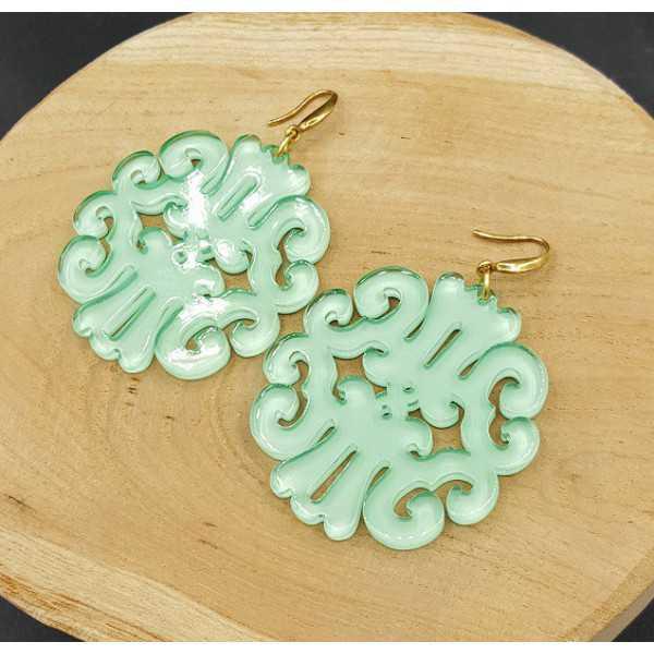 Ohrringe mit mintgrün Harz-Anhänger