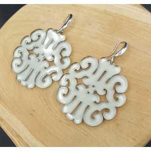 Earrings with grey resin pendant
