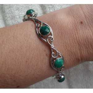 Zilveren armband gezet met ronde Emerald edelstenen