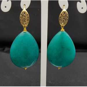 Oorbellen met grote zee groene Jade briolet