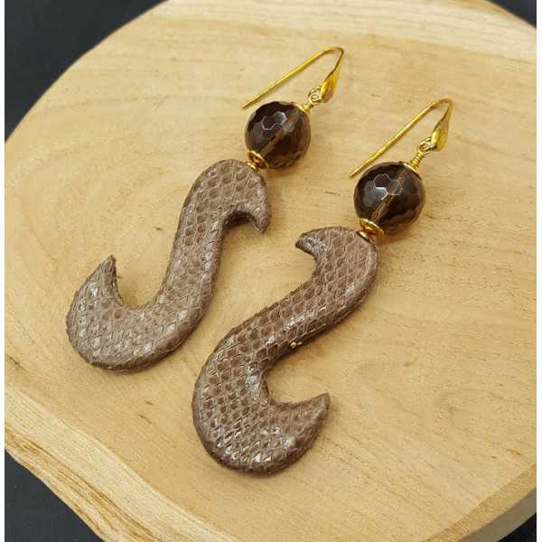 Earrings with Smokey Topaz and brown pendant of Snakeskin
