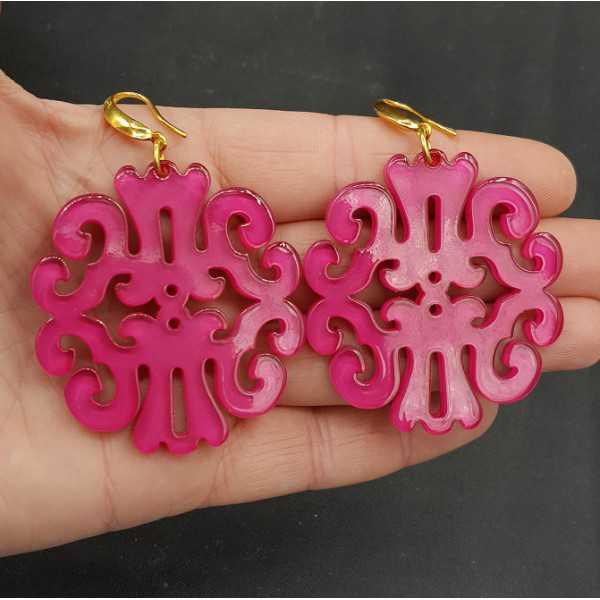 Ohrringe mit fuchsia rosa Harz-Anhänger