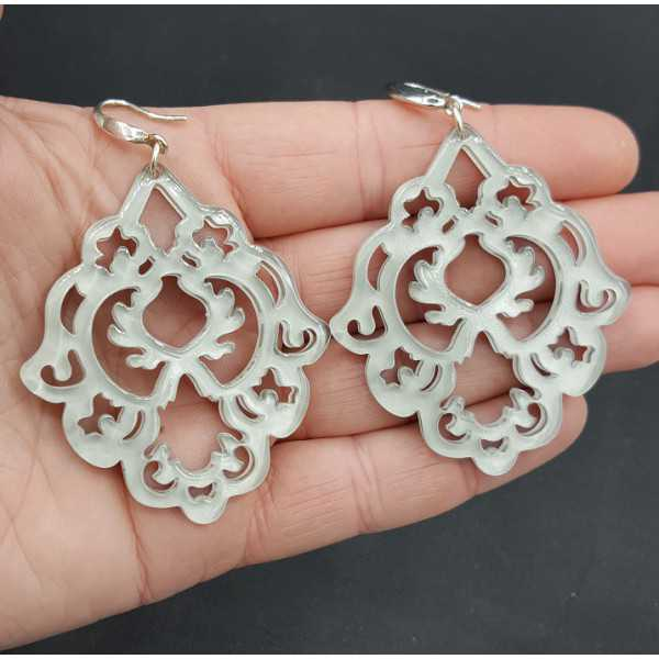 Earrings with light grey resin pendant