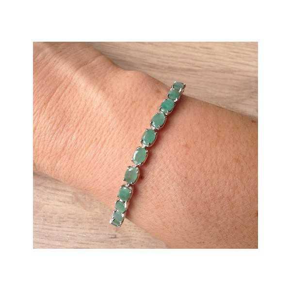 Zilveren armband gezet met Emerald en schuifslot