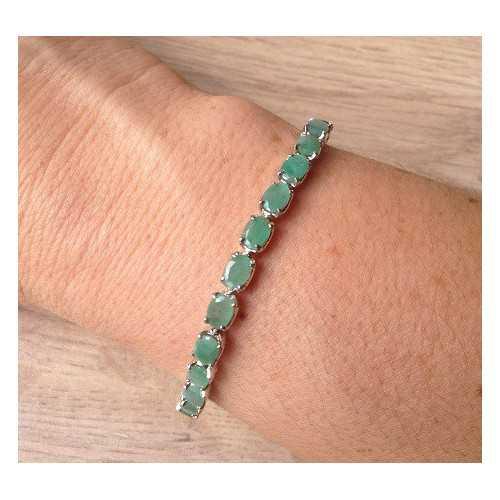 Silber Armband mit Smaragd und d Zoek op kleur Groen