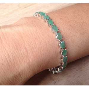 Silver bracelet set with Emerald and d