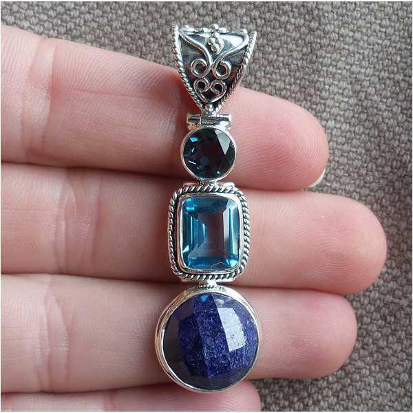 Silber Anhänger-set mit Runde Saphire und Blaue Topase