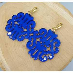 Oorbellen met kobalt blauwe resin hanger