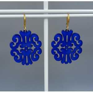 Ohrringe mit Kobalt-blau Harz-Anhänger