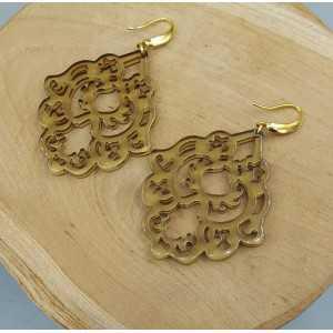 Oorbellen met bruine resin hanger