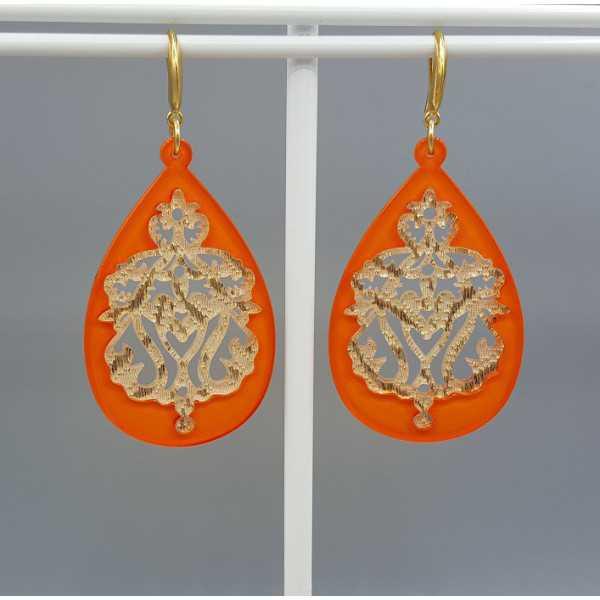 Ohrringe mit orange-gold-Spitze-Harz-Anhänger