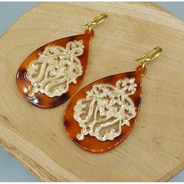Ohrringe mit braunen, Goldenen Spitze-Harz-Anhänger