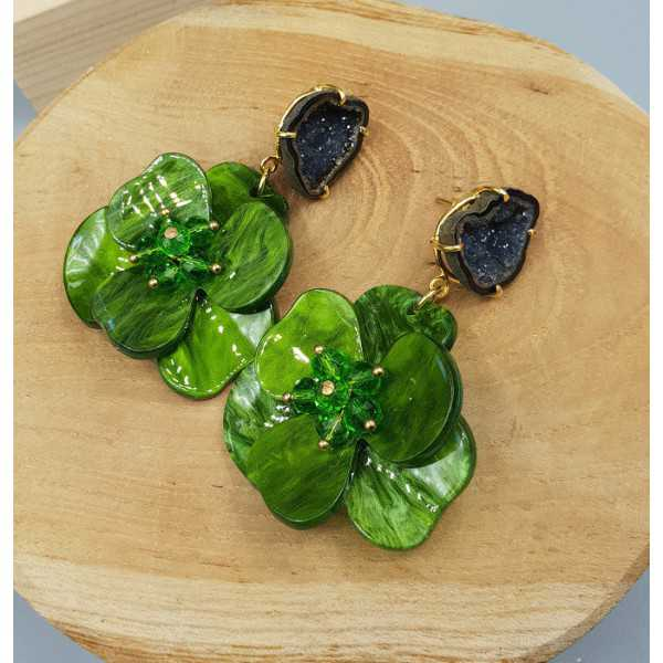 Gold plated earrings Agate geode and green resin flower
