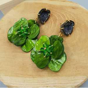 Vergoldete Ohrringe-Achat-geode und grün Harz Blume