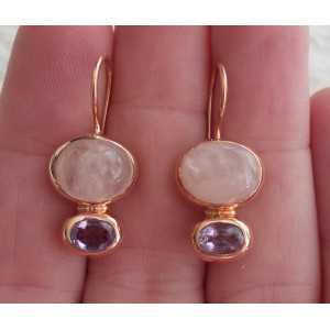 Vergoldete Ohrringe mit ovalen Amethyst und Rosenquarz