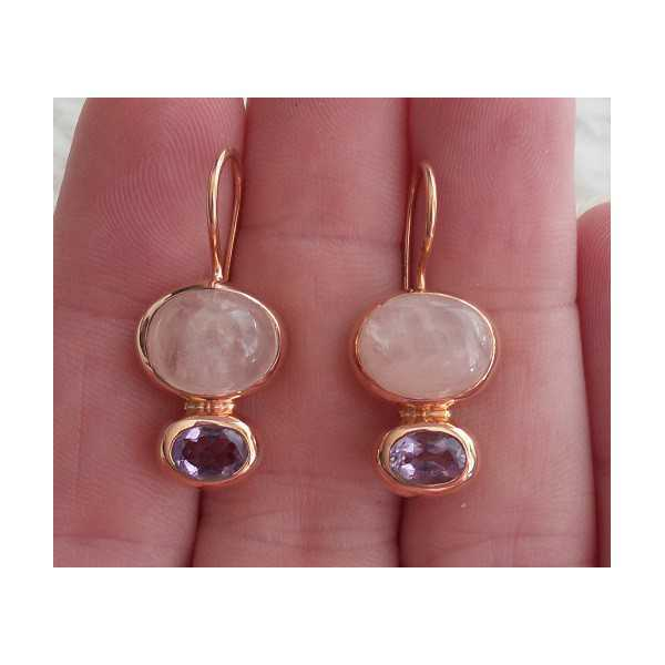 Gold plated earrings with oval Amethyst and rose quartz
