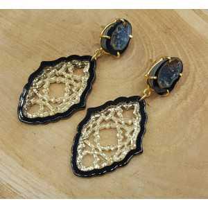 Vergoldete Ohrringe-Achat-geode und schwarz mit Goldenen Harz-Anhänger
