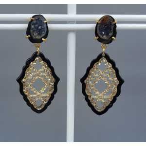 Goud vergulde oorbellen Agaat geode en zwart met gouden resin hanger
