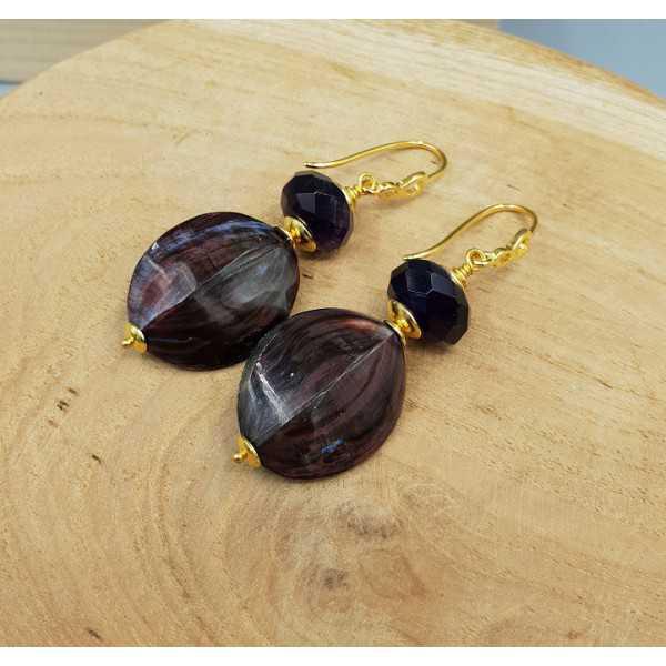 Ohrringe mit lila Auster-Muschel und Amethyst