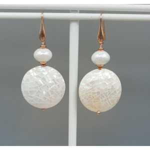 Ohrringe mit Runden ivory white shell und shell Perle