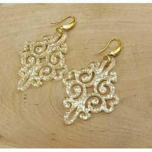 Goud vergulde oorbellen met gouden resin hanger