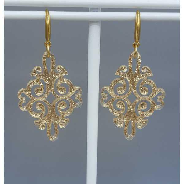 Vergoldete Ohrringe mit gold-Harz-Anhänger