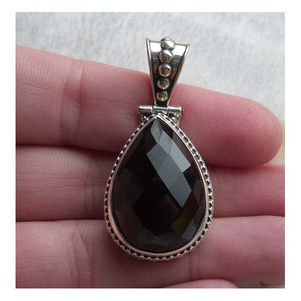 Silver pendant drop shape faceted Smokey Topaz, carved setting