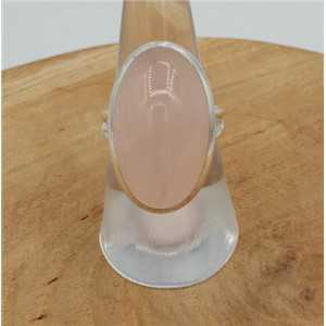 Zilveren ring met ovale Rozenkwarts 18 mm