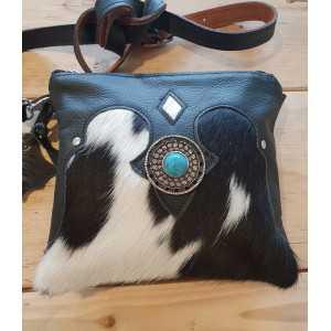 Cowhide ladies club bag black and white
