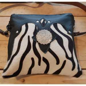 Cowhide ladies club bag zebra print