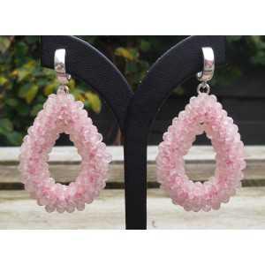Ohrringe Silber open drop of rose quartz