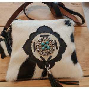 Cowhide ladies leisure bag white black