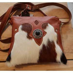Cowhide ladies leisure bag white brown