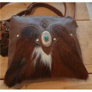 Rindleder Damen-Freizeit-Tasche dunkelbraun
