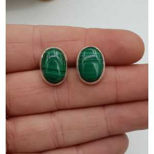 Silver oorknoppen with oval cabochon Malachite