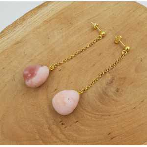 Lange oorbellen met roze Opaal briolet