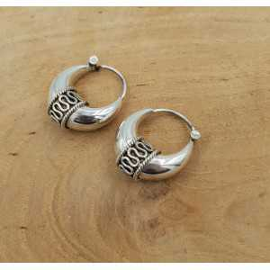Creoles earrings silver machined