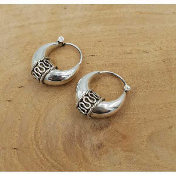 Kreolen Ohrringe Silber bearbeitet