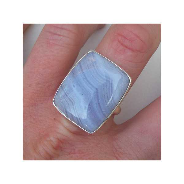 Silber ring mit blauen Spitze-Achat Größe 19.7 mm